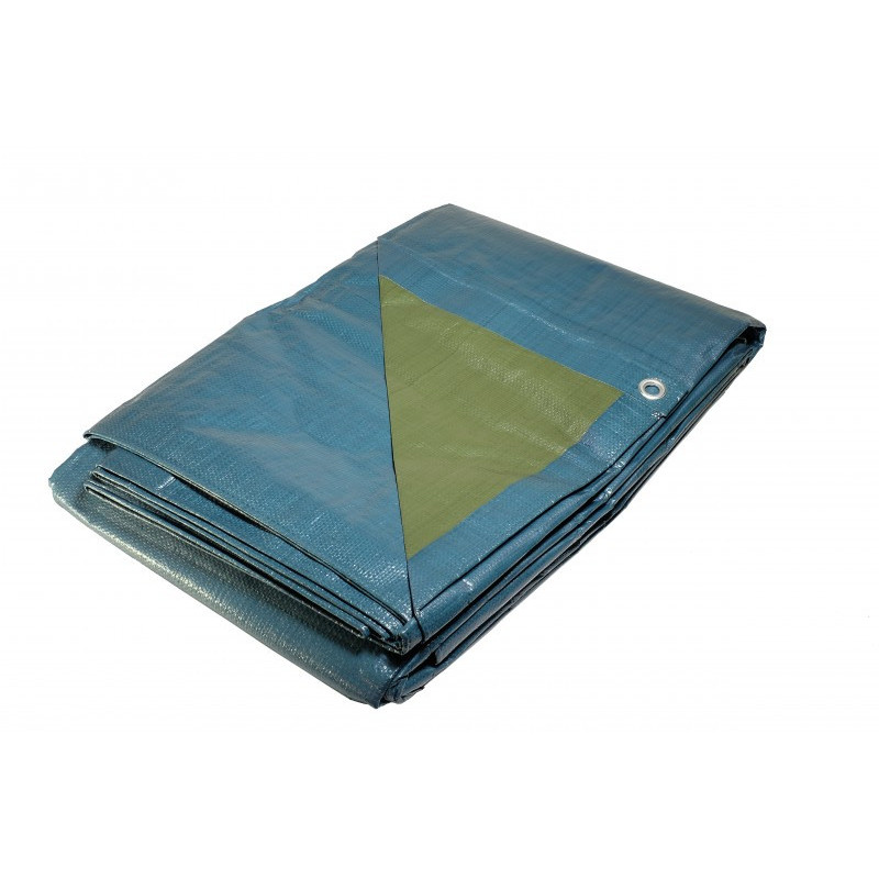 Bâche Chantier 5x8 m - Résitante - Etanche - Anti-UV - Bleue et verte - Œillets