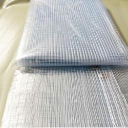 Bâche Industrielle 3,8x4 m - Transparente armée - Ultra résistante - Etanche - Anti-UV - Fabrication française - Œillets