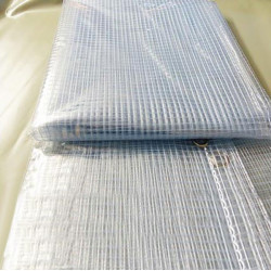 Bâche Industrielle 3,8x6 m - Transparente armée - Ultra résistante - Etanche - Anti-UV - Fabrication française - Œillets