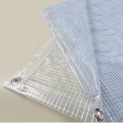 Bâche Chantier 2,1x4,5 m - Transparente armée - Ultra résistante - Etanche - Anti-UV - Fabrication française - Œillets