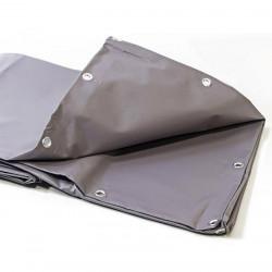 Bâche Industrielle 10x12 m - Ultra résistante - Etanche - Anti-UV - Fabrication française - Grise - Œillets