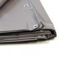 Bâche Industrielle 2x3 m - Ultra résistante - Etanche - Anti-UV - Fabrication française - Grise - Œillets