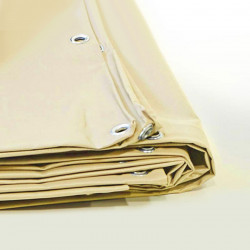 Bâche Pergola 10x15 m - Ultra résistante - Etanche - Anti-UV - Fabrication française - Ivoire - Œillets