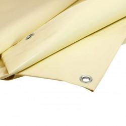 Bâche Chantier 2x3 m - Ultra résistante - Etanche - Anti-UV - Fabrication française - Ivoire - Œillets
