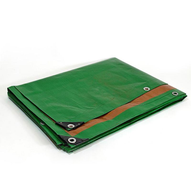 Bâche Toiture 10x15 m - Très résistante - Etanche - Anti-UV - Verte et marron - Œillets