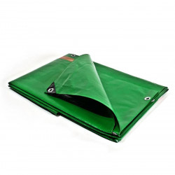 Bâche Toiture 8x12 m - Très résistante - Etanche - Anti-UV - Verte et marron - Œillets