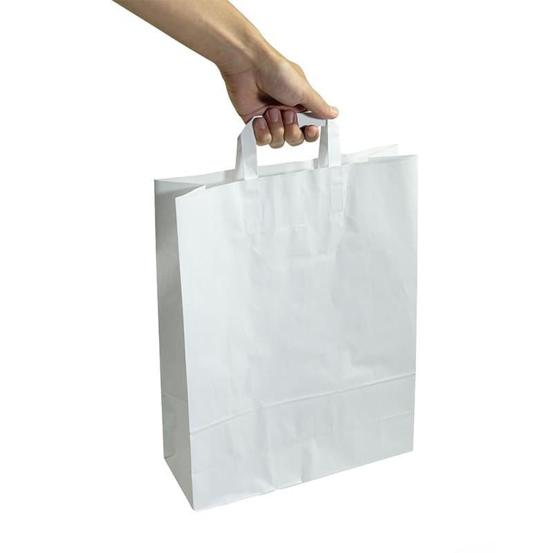 Sac Kraft à poignées plate 450x470 mm (x1000 pcs) - Blanc - Résitant - Biodégradable
